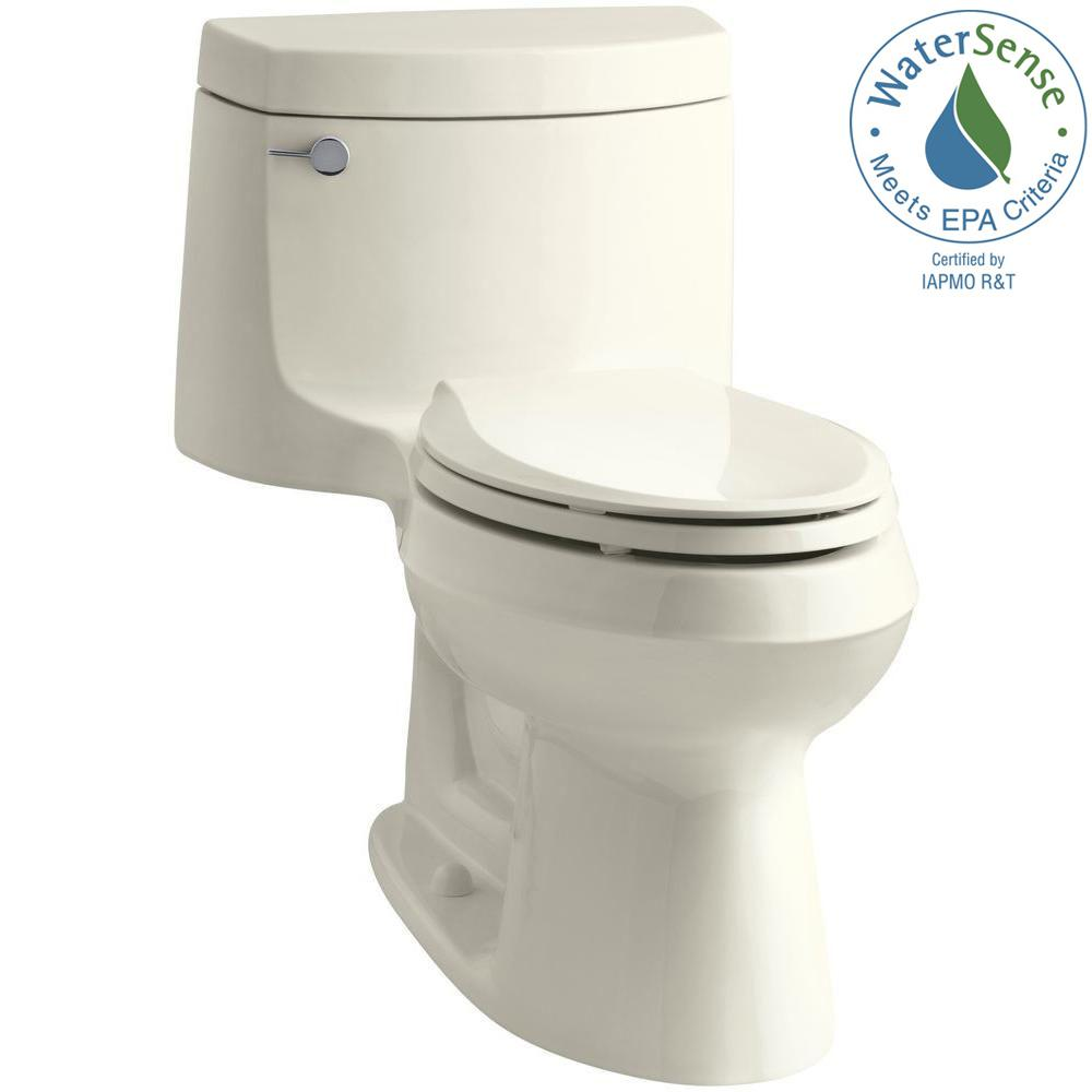 KOHLER Cimarron 1-piece 1.28 GPF Single Flush Elongated Toilet with AquaPiston Flush Technology in Biscuit, Seat Included