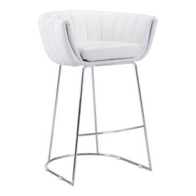 Latte 29.5 in. White Cushioned Bar Stool