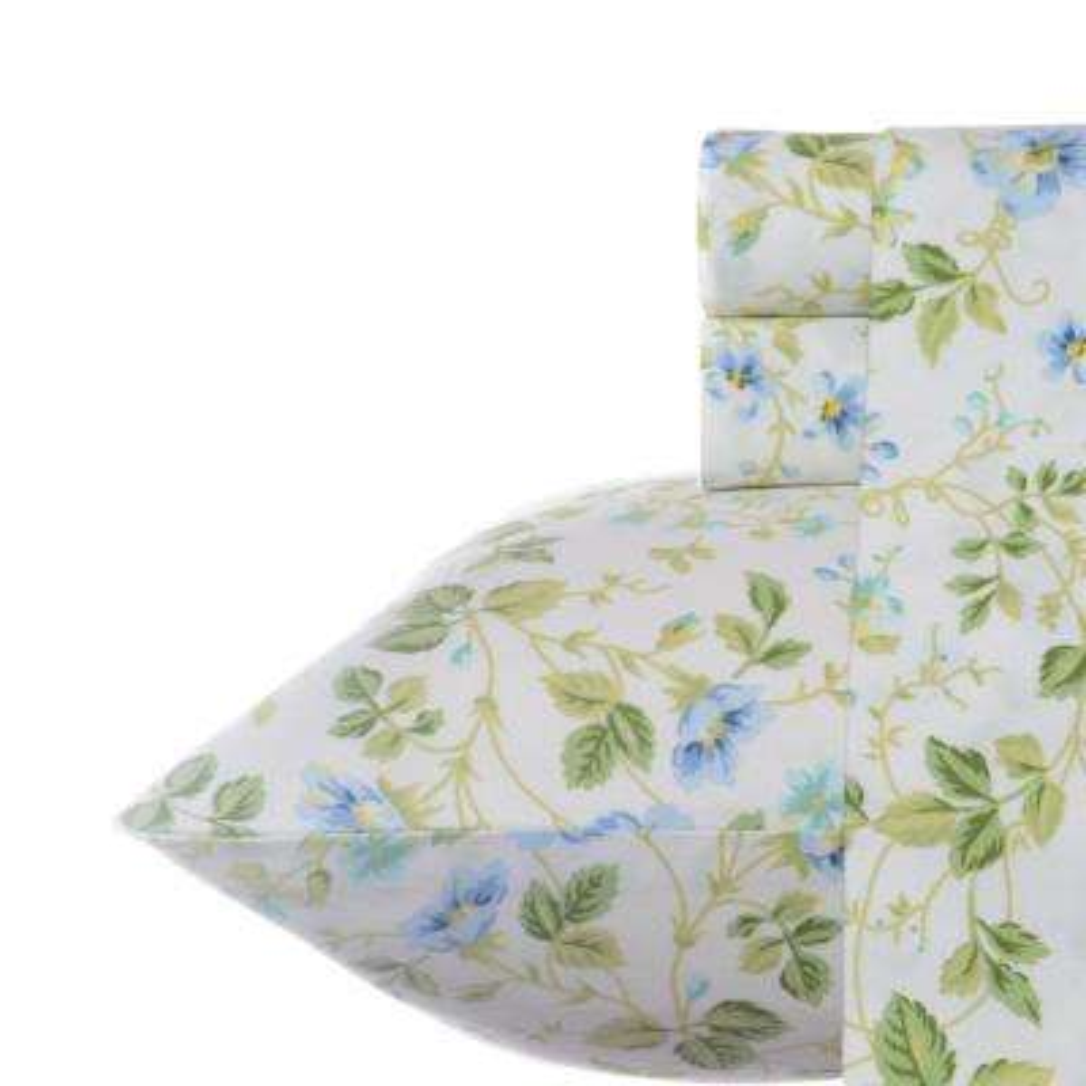 4-Piece Periwinkle Floral 300 Thread Count Sateen Queen Sheet Set