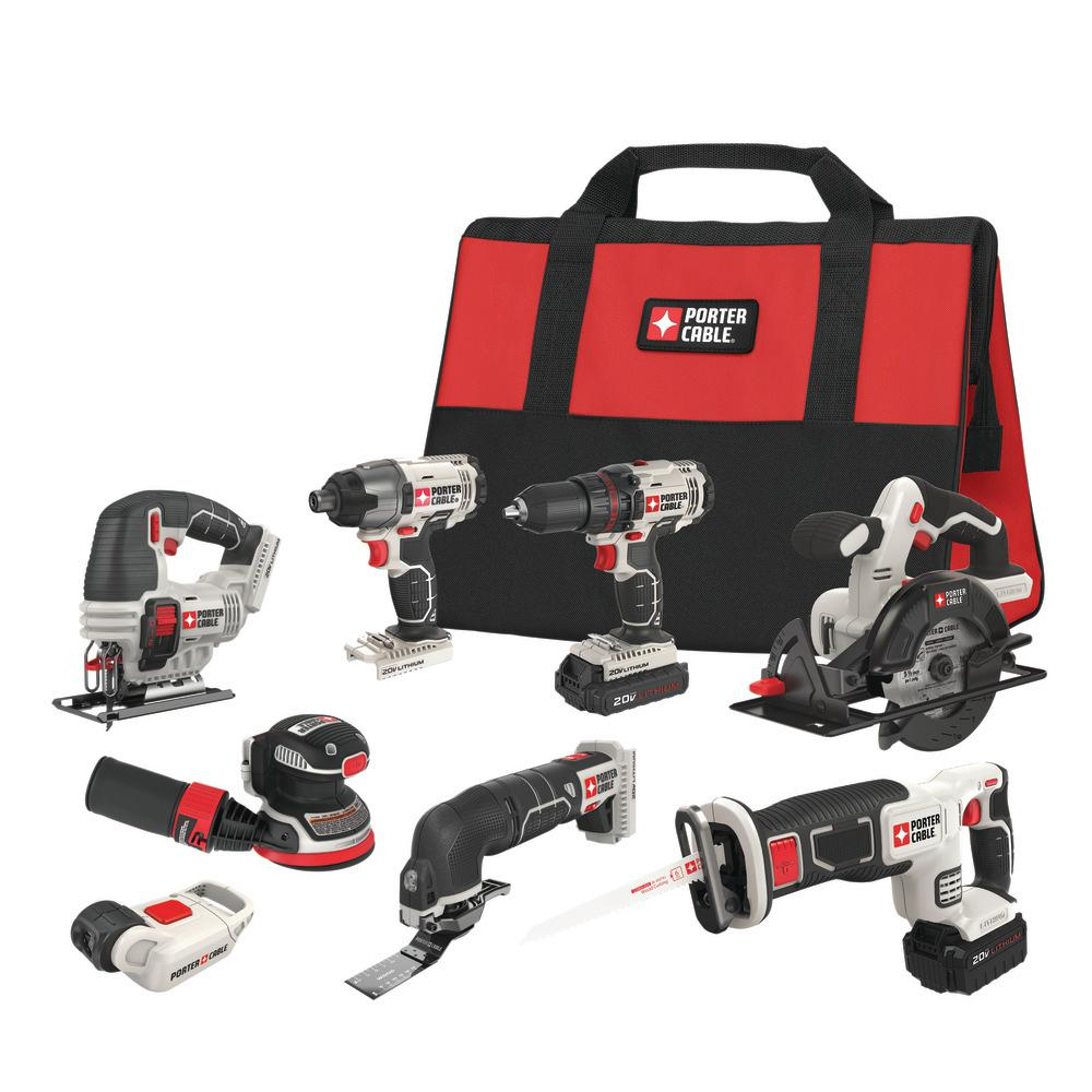 Porter Cable 20 Volt Max Lithium Ion Cordless Combo Kit 8 Tool