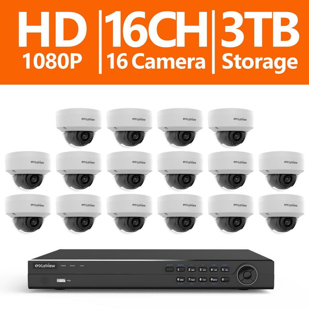 16-Channel Full HD IP Indoor/Outdoor Surveillance 3TB NVR System (16) Dome
