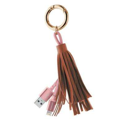 Apple MFi Certified Tassle Lightning Key Ring with Aluminum Tips, Brown/Black