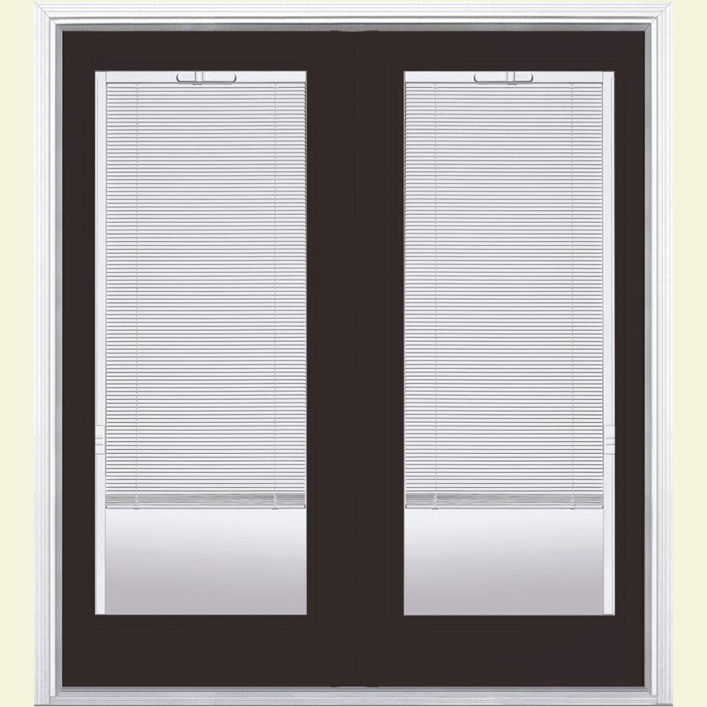 Masonite 60 in. x 80 in. Willow Wood Prehung Right-Hand Inswing Mini Blind Steel Patio Door with Brickmold
