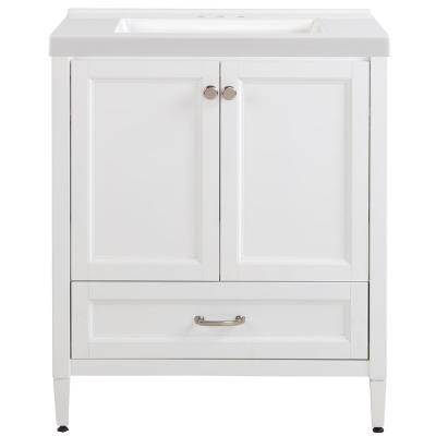 Claxby 31 in. W x 22 in. D x 37 in. H Bath Vanity in White with Cultured Marble Vanity Top in White with White Sink