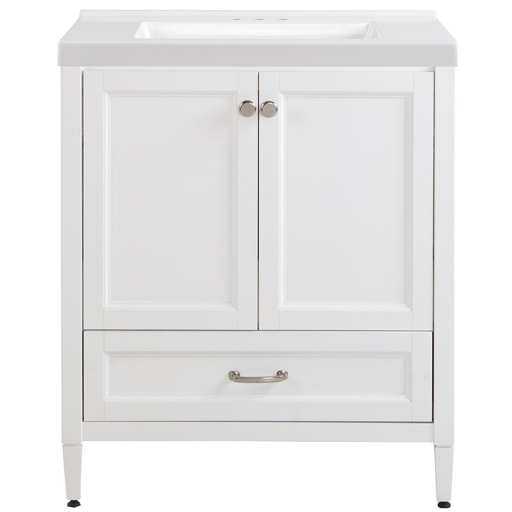 Claxby 31 in. W x 22 in. D x 37 in. H Vanity in White with Cultured Marble Vanity Top in White with White Sink