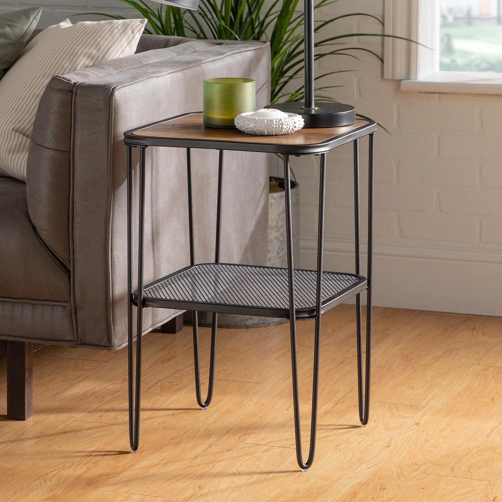 16 in. Rustic Oak Mid Century Modern Side Table