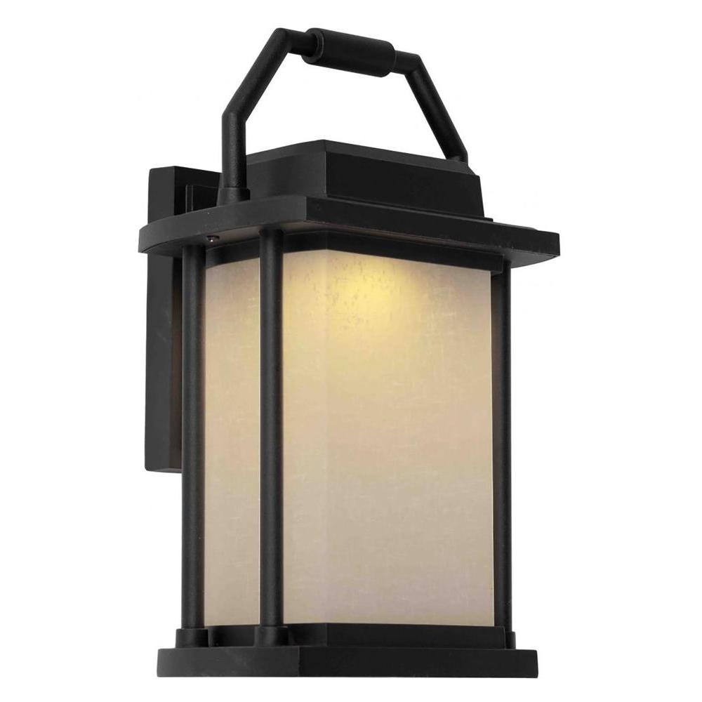 Lithonia lighting osc jelly jar black outdoor integrated led entry light sconce osc led 120 pe for Black exterior sconce