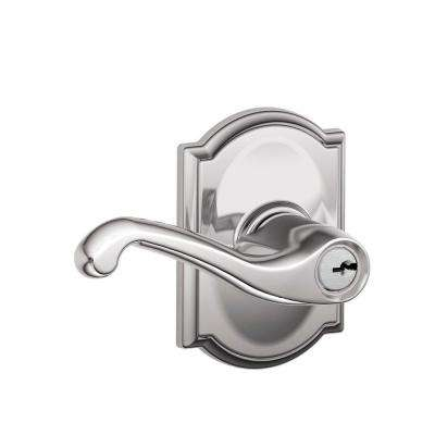 Flair Bright Chrome Keyed Entry Door Lever with Camelot Trim