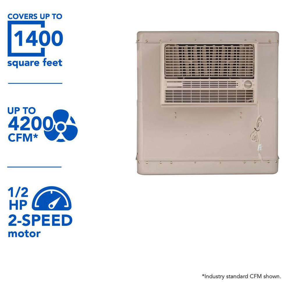 Champion Cooler 4200 CFM 2-Speed Front Discharge Window Evaporative Cooler for 1400 sq. ft. (with Motor)