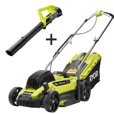 13 in. ONE+ 18-Volt Lithium-Ion Cordless Battery Walk Behind Push Lawn Mower & Leaf Blower- 4.0 Ah Battery/Charger