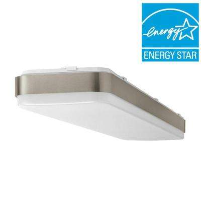 4 ft. x 1ft. Brushed Nickel Bright/Cool White Rectangular LED Flushmount Ceiling Light Fixture Dimmable