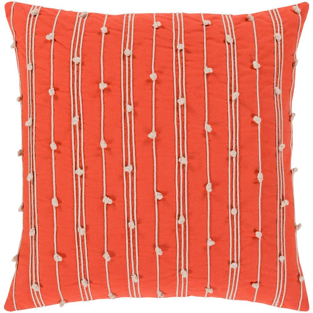 Nelhel Navy Striped Polyester 22 in. x 22 in. Throw Pillow