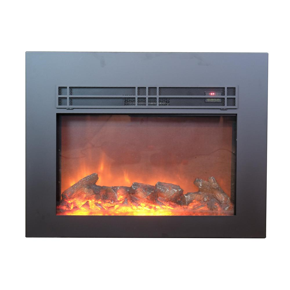 Y Decor True Flame 24 in. Electric Fireplace Insert with Black front surround. The realistic flame display operates with or without heat for year round enjoyment. Easily heatup to a 220 sq. ft. room with