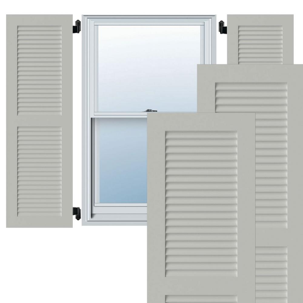 Ekena Millwork 15 In X 52 In Exterior Composite Louvered Shutters Per Pair White Cwl15x052whc The Home Depot