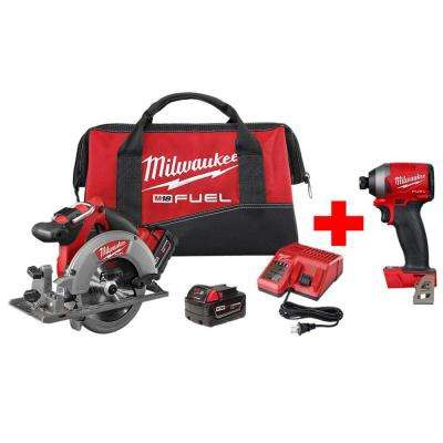 M18 FUEL 18-Volt Lithium-Ion Brushless Cordless 6-1/2 in. Circular Saw Kit with Free M18 FUEL Impact Driver