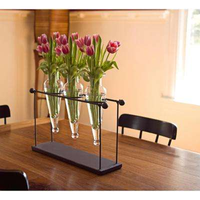 16 in. Triple Glass Amphora Vases on Iron Stand with Finials - Clear Glass