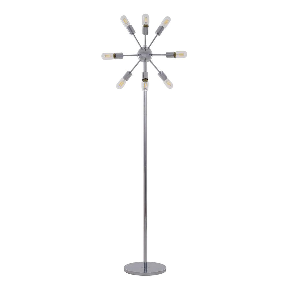 63.5 in. Chrome Sputnik 9-Light Floor Lamp with LED Filament Bulbs