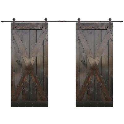 X Series 84 in. x 84 in. Dark Coffee Stained Solid Wood Double Sliding Barn Door with Hardware Kit