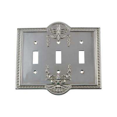 Meadows Switch Plate with Triple Toggle in Bright Chrome