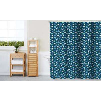 Dog Breeds 70 in. x 72 in. Blue 13-Piece Fabric Shower Curtain Set