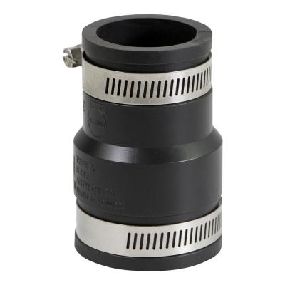 2 in. x 1-1/4 in. PVC Flexible Reducing Coupling with Stainless Steel Clamps