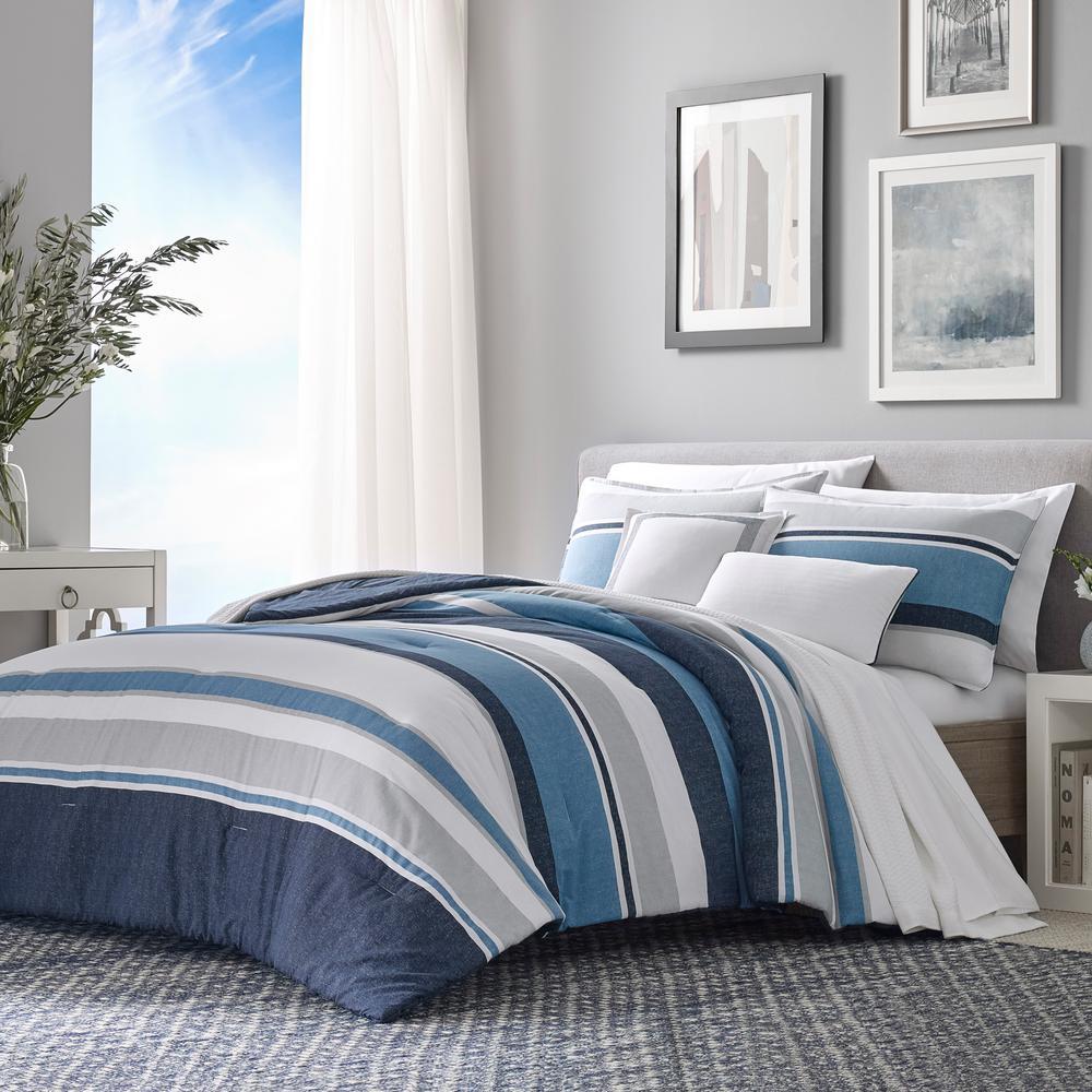 Westport Navy 5-Piece Cotton King Comforter/Sham Set Bonus