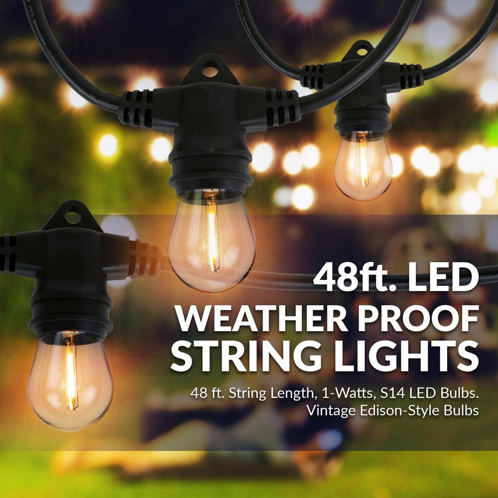 Aurio Lighting Outdoor Indoor 48 Ft, String Lights Outdoor Patio