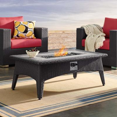 Splendor 43.5 in. Wicker Outdoor Fire Pit Coffee Table in Espresso