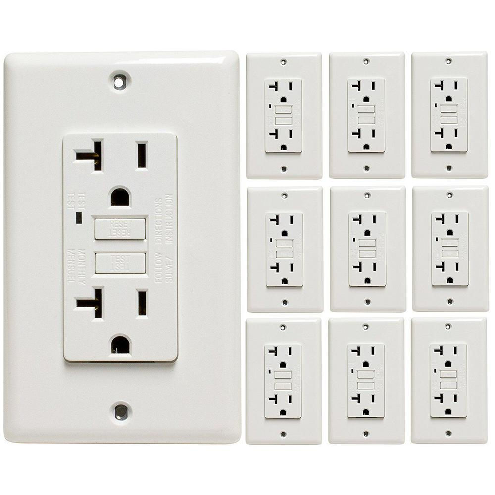 Leviton 20 Amp 125 Volt Combo Self Test Blank Face Gfci Outlet Wiring In The Home Replacing Light Switch With Testing Indicator Wall Plate Included