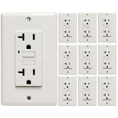 20-Amp Self-Testing GFCI Outlet with Indicator Light, Wall Plate Included, White (10-Pack)