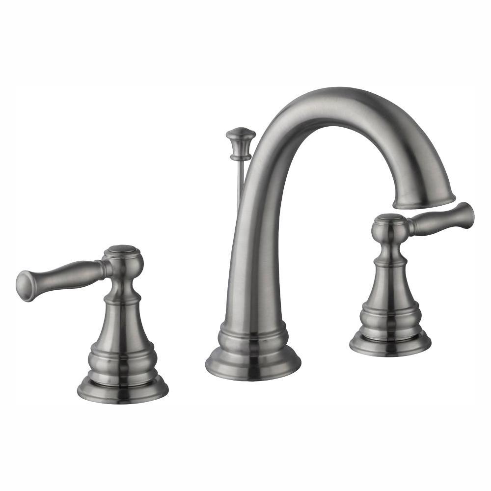 Glacier Bay Fairway 8 in. Widespread 2-Handle High-Arc Bathroom Faucet in Brushed Nickel