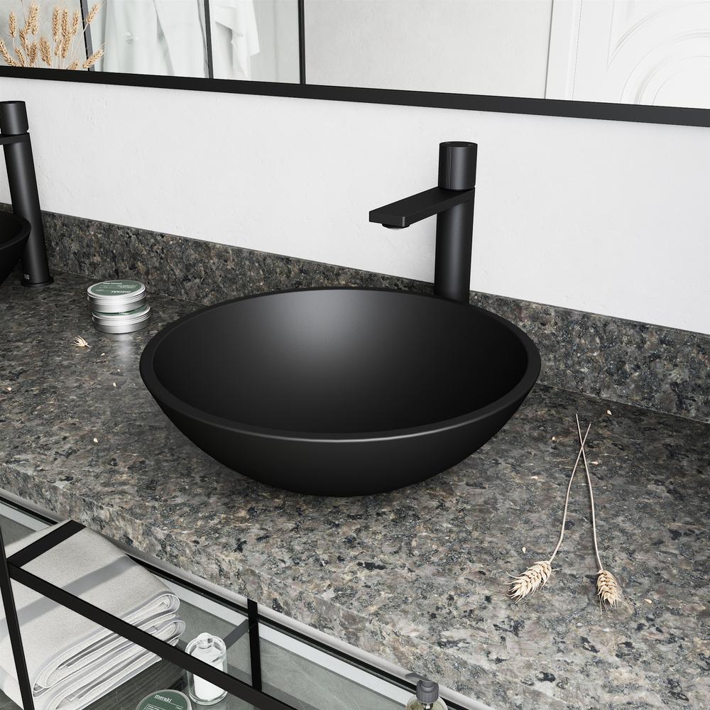 Gotham Single Hole Single-Handle Vessel Bathroom Faucet in Matte Black