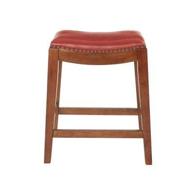 Metro 24 in. Red Cranberry Bonded Leather Saddle Stool with Nail Head Accents and Espresso Legs