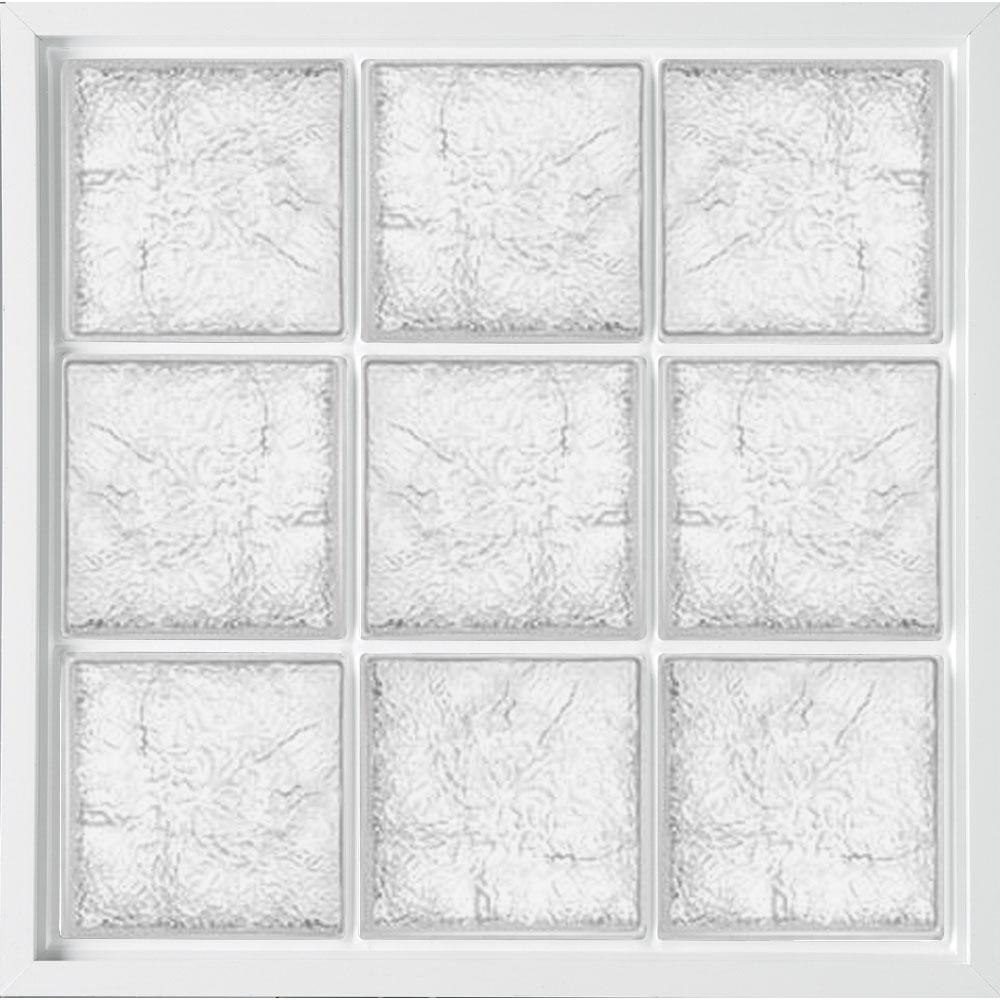31.5 in. x 31.5 in. Glass Block Fixed Vinyl Windows Ice Pattern Glass - White