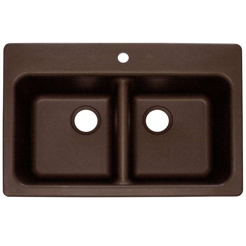 Franke Dual Mount Composite Granite 33x22x8 1-Hole Double Bowl Kitchen Sink in Mocha