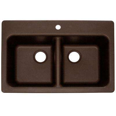 Dual Mount Composite Granite 33.in 1-Hole Double Bowl Kitchen Sink in Mocha