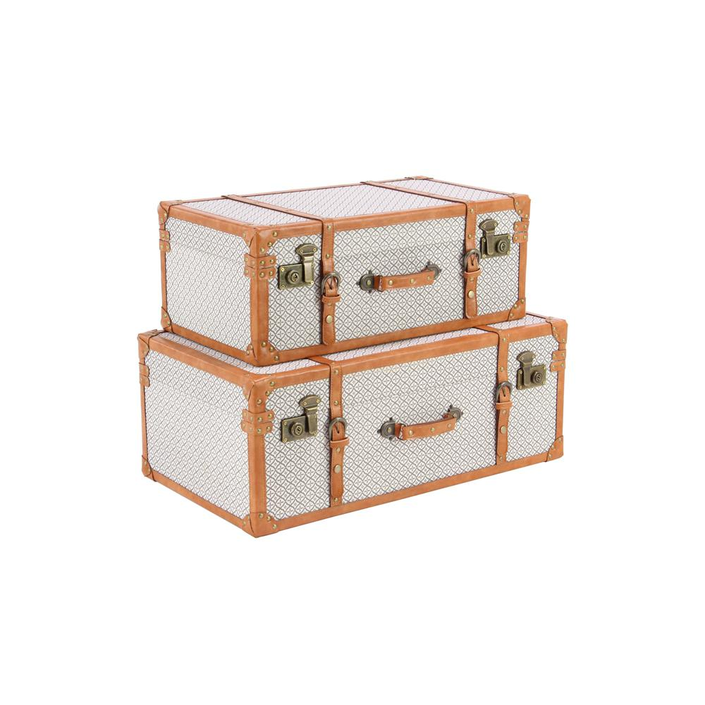 White Rectangular Canvas and Wood Trunks with Brown Strap Accents (Set