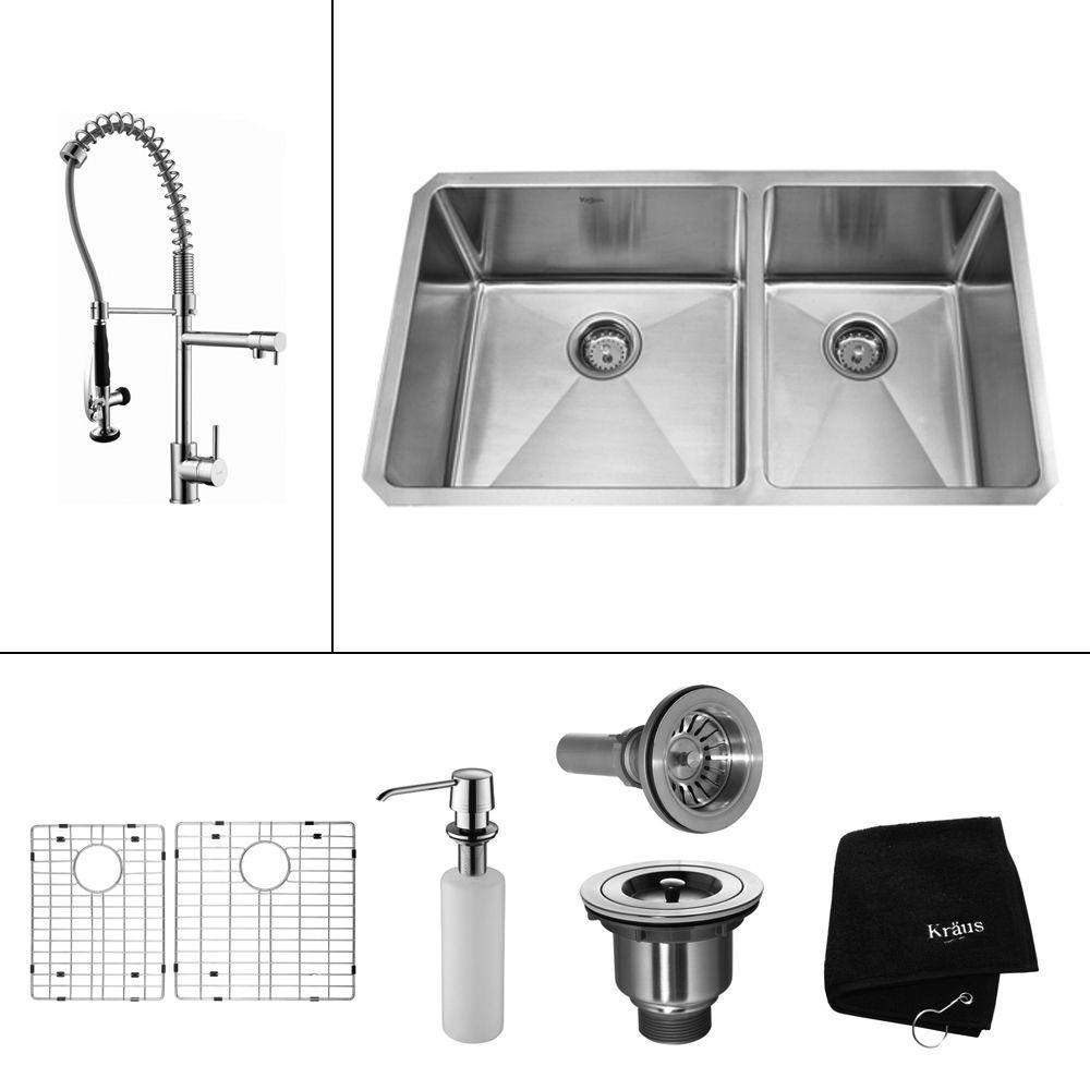KRAUS All-in-One Undermount Stainless Steel 33 in. 60/40 Double Basin Kitchen Sink with Faucet and Accessories in Chrome
