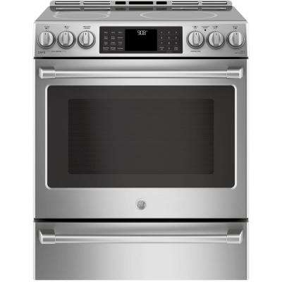 30 in. 5.3 cu. ft. Slide-In Electric and Convection Range with Warming Drawer in Stainless Steel