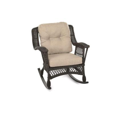 Cappuccino Wicker Outdoor Rocking Chair with Light Brown Cushions