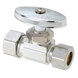 Brasscraft 1/2 inch Nominal Compression Inlet x 1/2 inch O.D. Compression Outlet Multi-Turn Straight Valve by BrassCraft