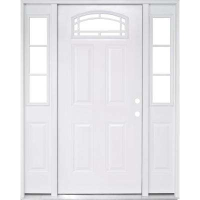 64 in. x 80 in. Camber Top White Primed Left Hand 12 in. 3-Lite Sidelites Steel Prehung Front Door with 4-9/16 in. Frame