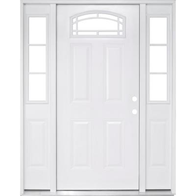 68 in. x 80 in. Camber Top White Left-Hand 14 in. 3-Lite Sidelites Primed Steel Prehung Front Door with 4-9/16 in. Frame
