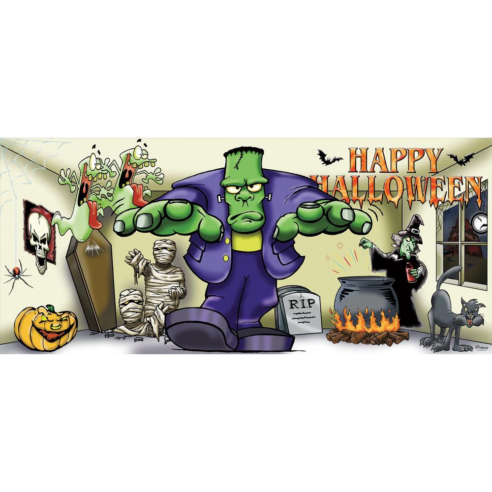 7 ft. x 16 ft. Frank and Friends Outdoor Halloween Holiday Garage Door Decor Mural for Double Car Garage