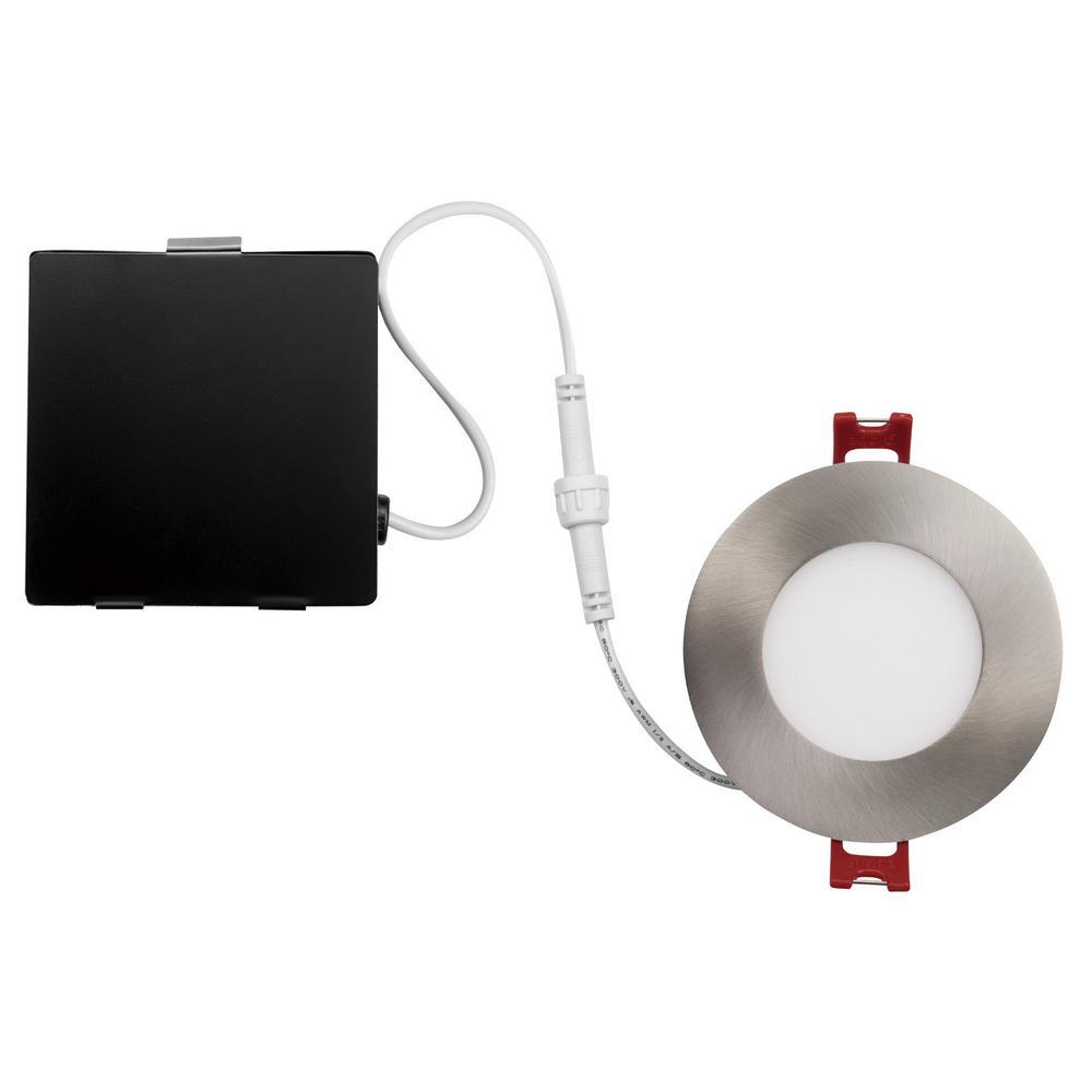 Designer Ultra Slim 3 in. Brushed Nickel Integrated LED Recessed Kit
