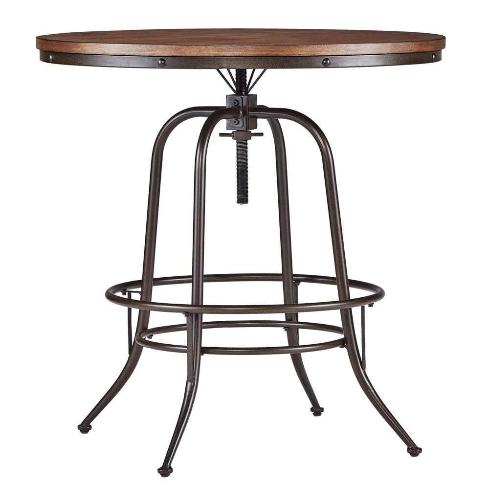 Brand new HomeSullivan Olson Brown Adjustable Pub/Bar Table-405429-36RD  EN49