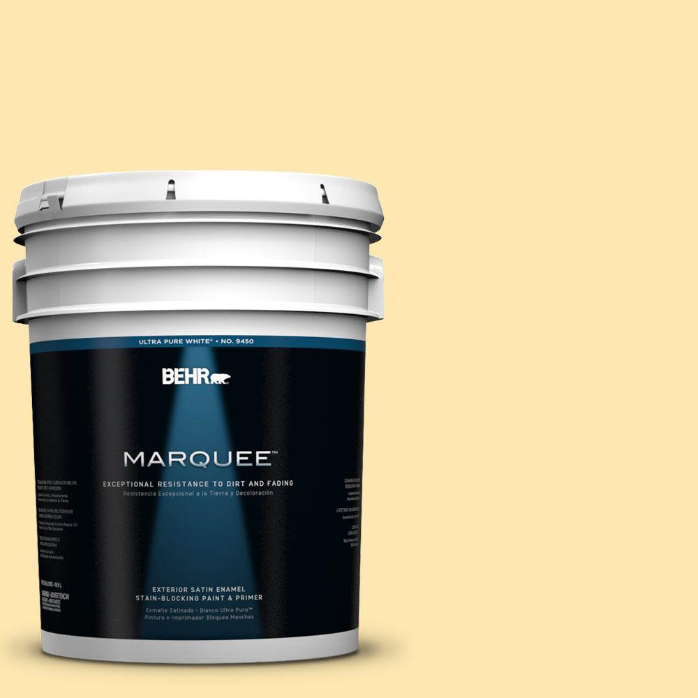 BEHR MARQUEE 5-gal. #330A-3 Lively Yellow Satin Enamel Exterior Paint