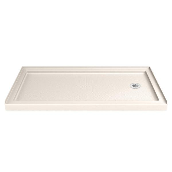 SlimLine 36 in. D x 60 in. W Single Threshold Shower Base in Biscuit with Right Hand Drain