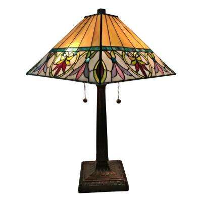 22 in. Multicolored Tiffany Style Floral Mission Table Lamp