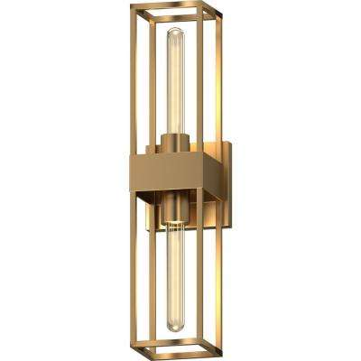 2-Light Indoor Antique Gold 3D Square Rectangle Prism Bath or Vanity Light Bar, Wall Mount or Wall Sconce